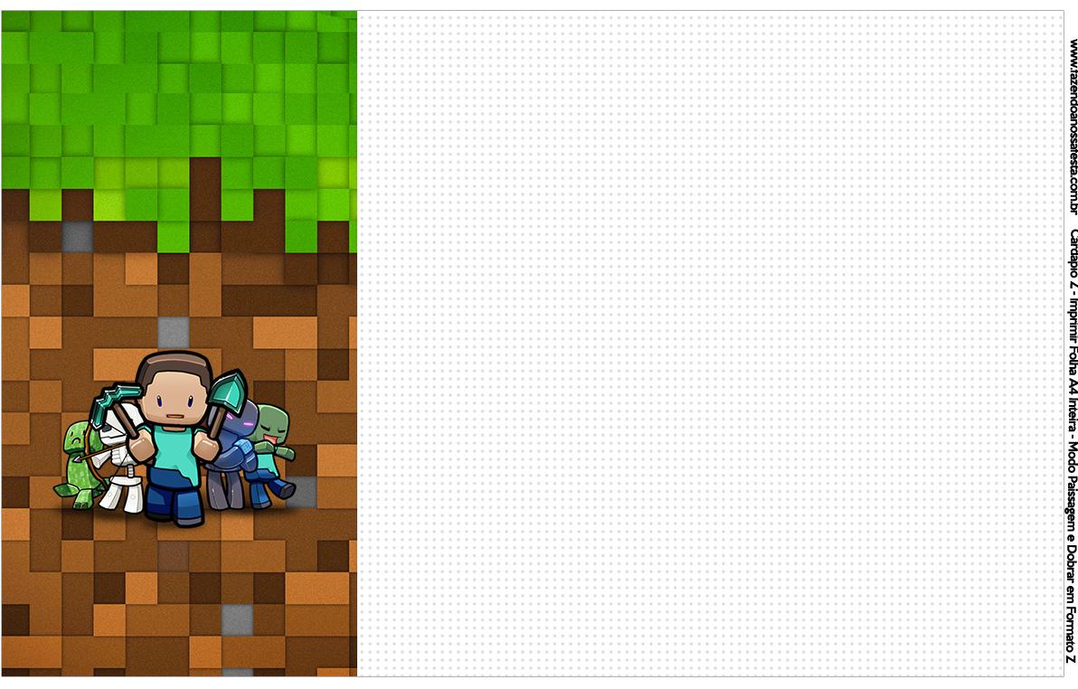Convite Cardapio ou Cronograma em Z Minecraft