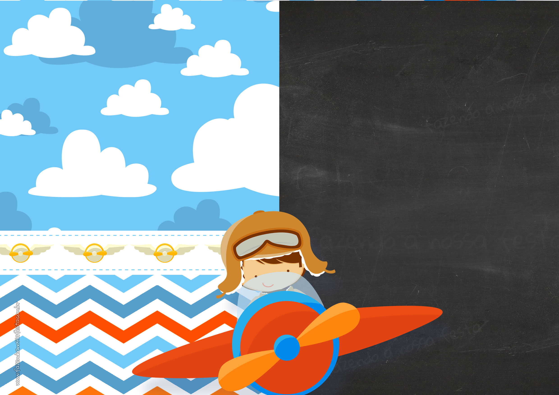 Convite Chalkboard Menino Aviador 2