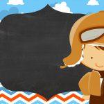 Convite Chalkboard Menino Aviador 4