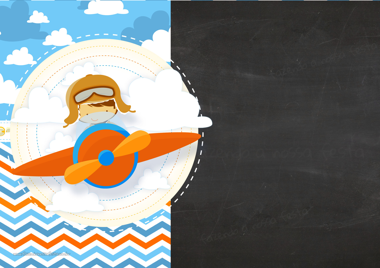 Convite Chalkboard Menino Aviador 6