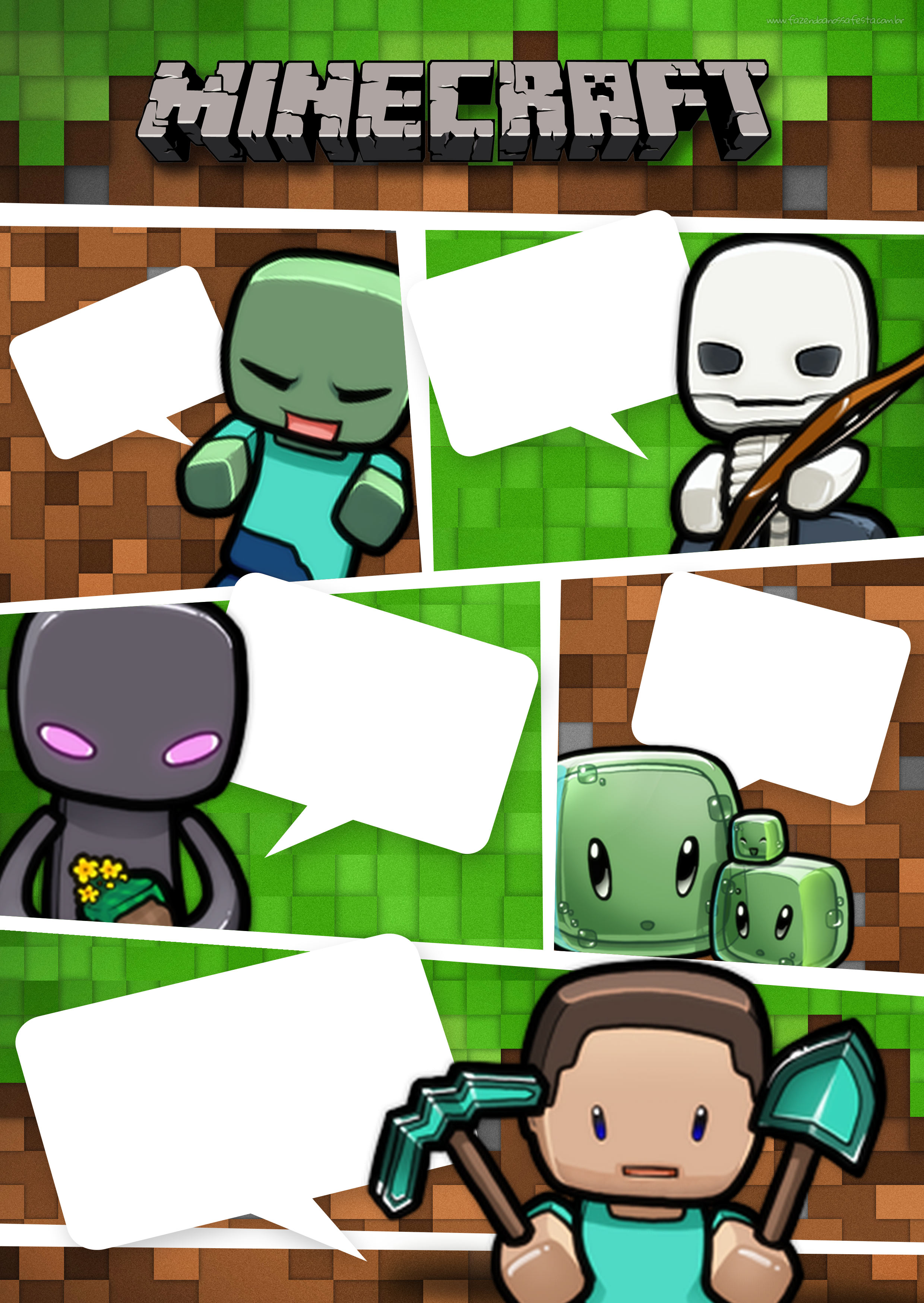 Convite Gibi Minecraft