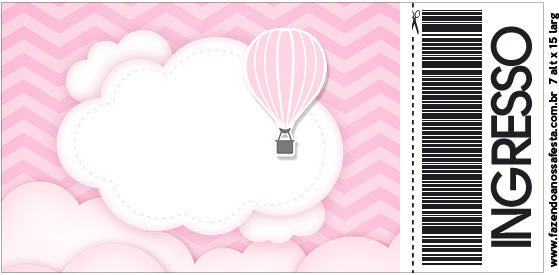 Convite Ingresso Balão de Ar Quente Rosa