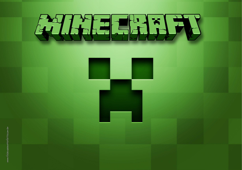 Letras Minegraft Fazendo A Nossa Festa: Convite Tema Minecraft 3