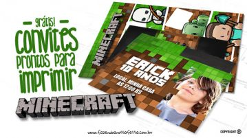 Convite Minecraft Fazendo a Nossa Festa