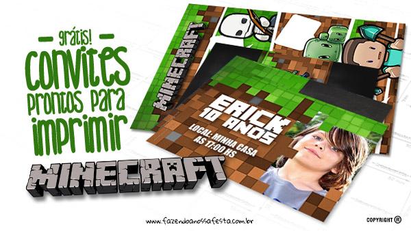 Letras Minegraft Fazendo A Nossa Festa: Convite Minecraft Totalmente Grátis Para Imprimir Em Casa