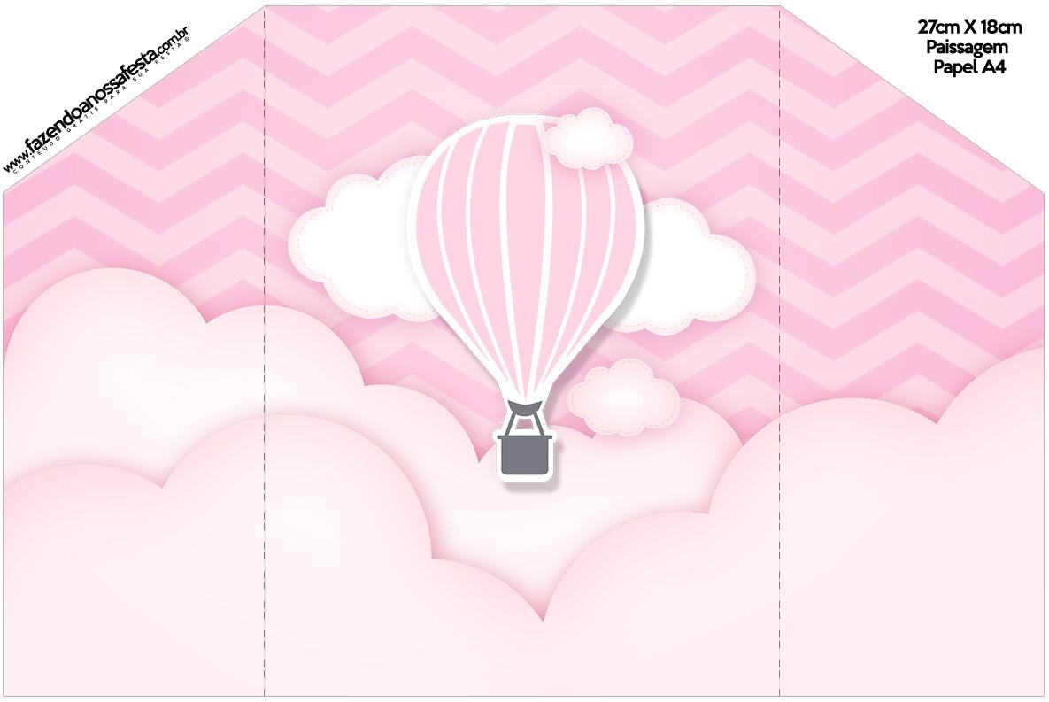 Envelope Convite Balão de Ar Quente Rosa