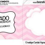 Envelope do Cartão Agradecimento Balão de Ar Quente Rosa