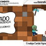Envelope do Cartão Agradecimento Minecraft