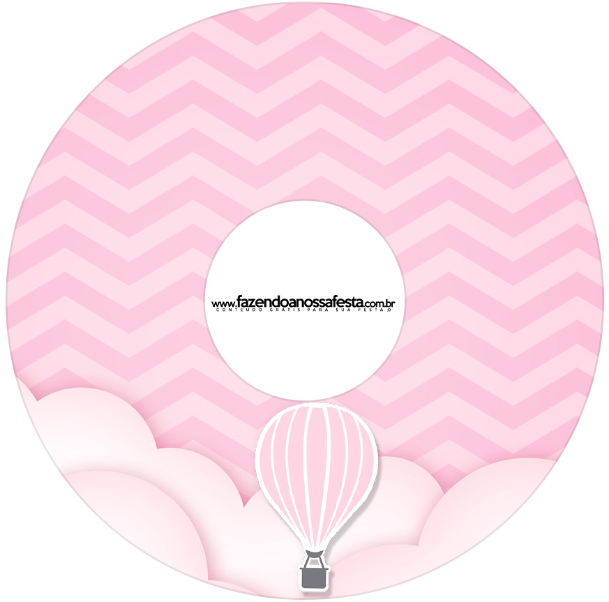 Etiqueta CD DVD Balão de Ar Quente Rosa Kit Festa