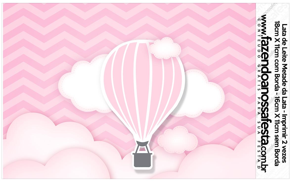 Lata de leite Balão de Ar Quente Rosa Kit Festa