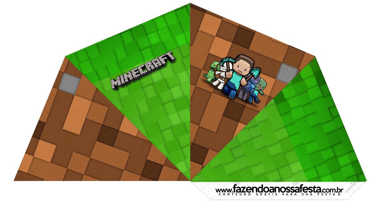 Letras Minegraft Fazendo A Nossa Festa: Cone Guloseimas 4 Lados Minecraft