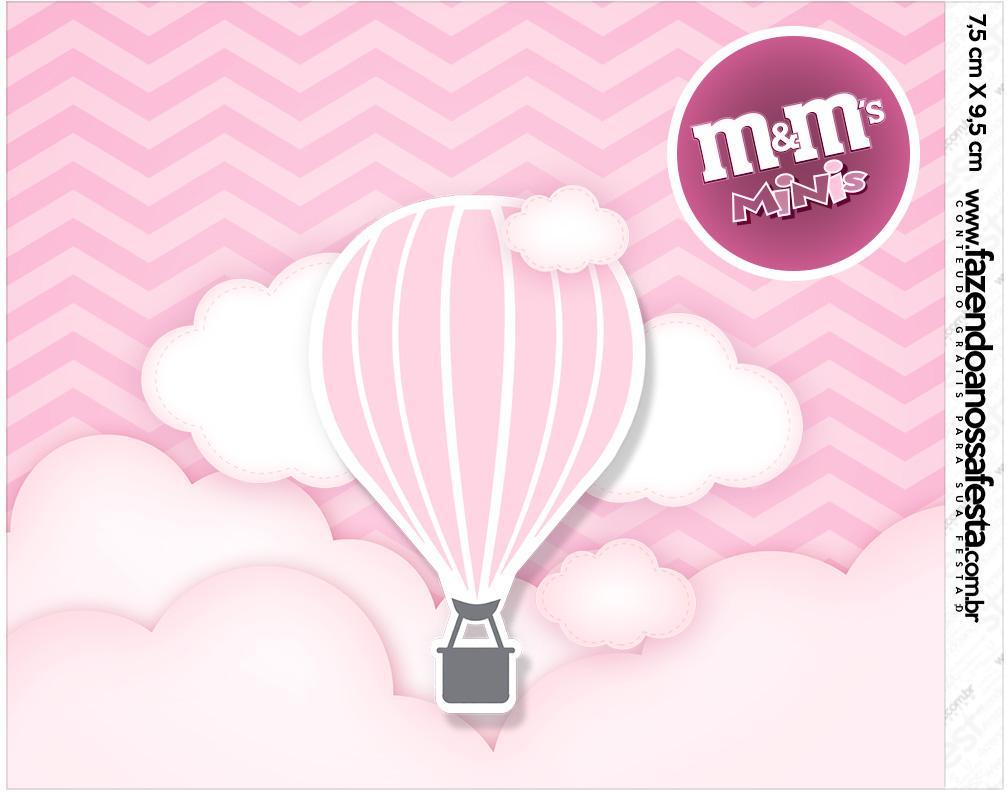 Mini MeM Balão de Ar Quente Rosa Kit Festa