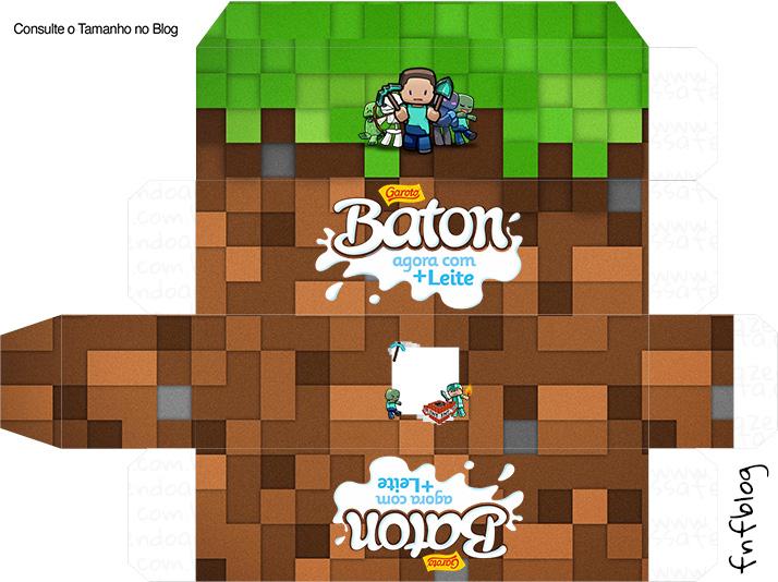 Letras Minegraft Fazendo A Nossa Festa: Molde Caixa Baton Minecraft