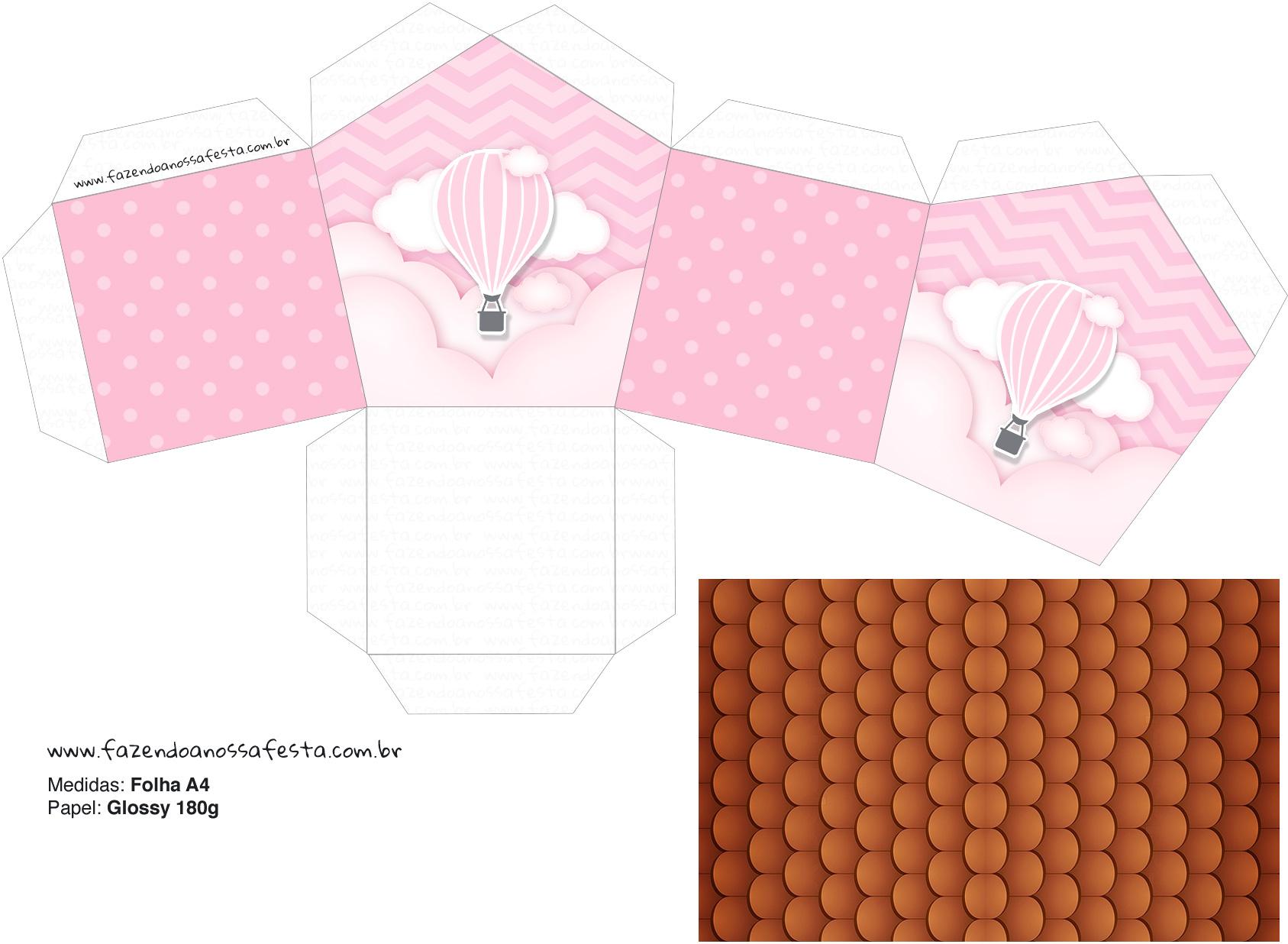 Molde Casinha Balão de Ar Quente Rosa