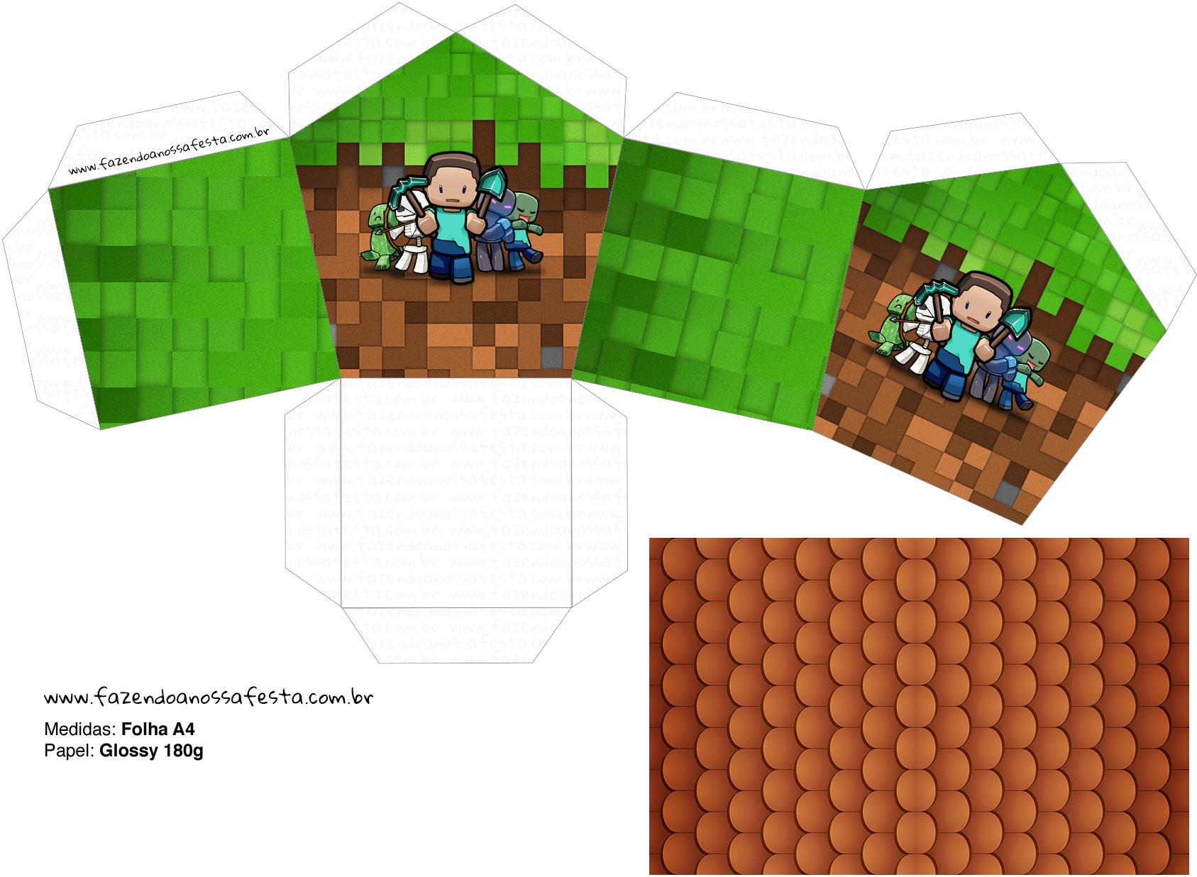 Letras Minegraft Fazendo A Nossa Festa: Molde Casinha Minecraft