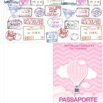 Molde Passaporte Balão de Ar Quente Rosa Kit Festa