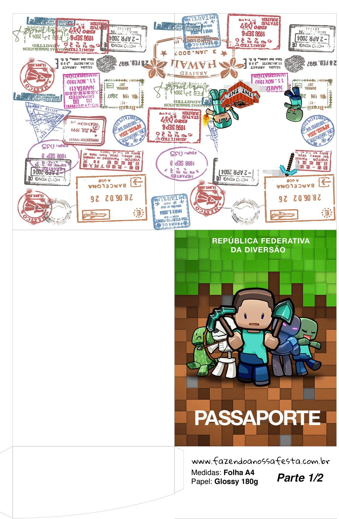 Molde Passaporte Minecraft