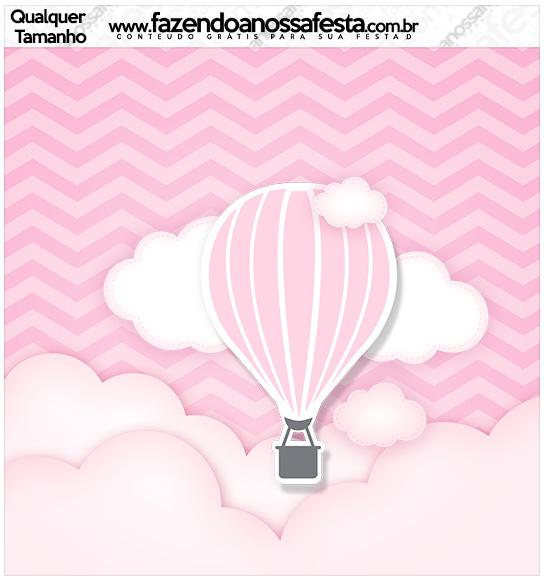 Molde Quadrado Balão de Ar Quente Rosa Kit Festa