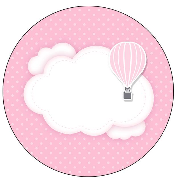 Molde para Latinha Balão de Ar Quente Rosa Kit Festa