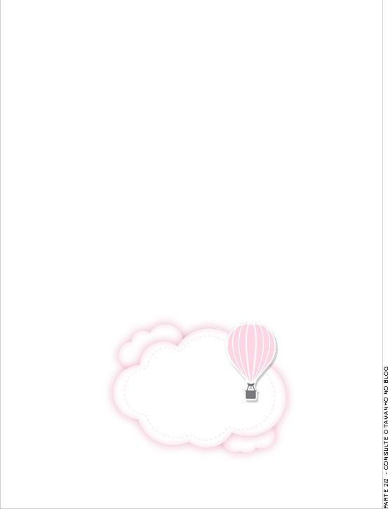 Passaporte Interno Balão de Ar Quente Rosa Kit Festa
