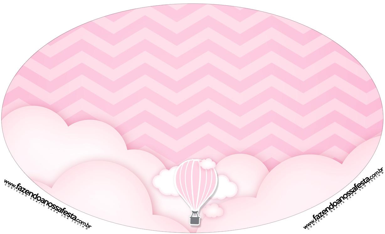 Placa Elipse Balão de Ar Quente Rosa