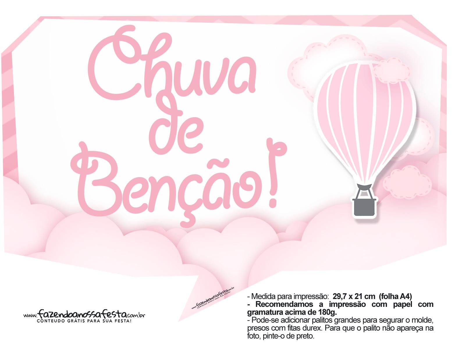 Plaquinha divertida Balão de Ar Quente Rosa 21