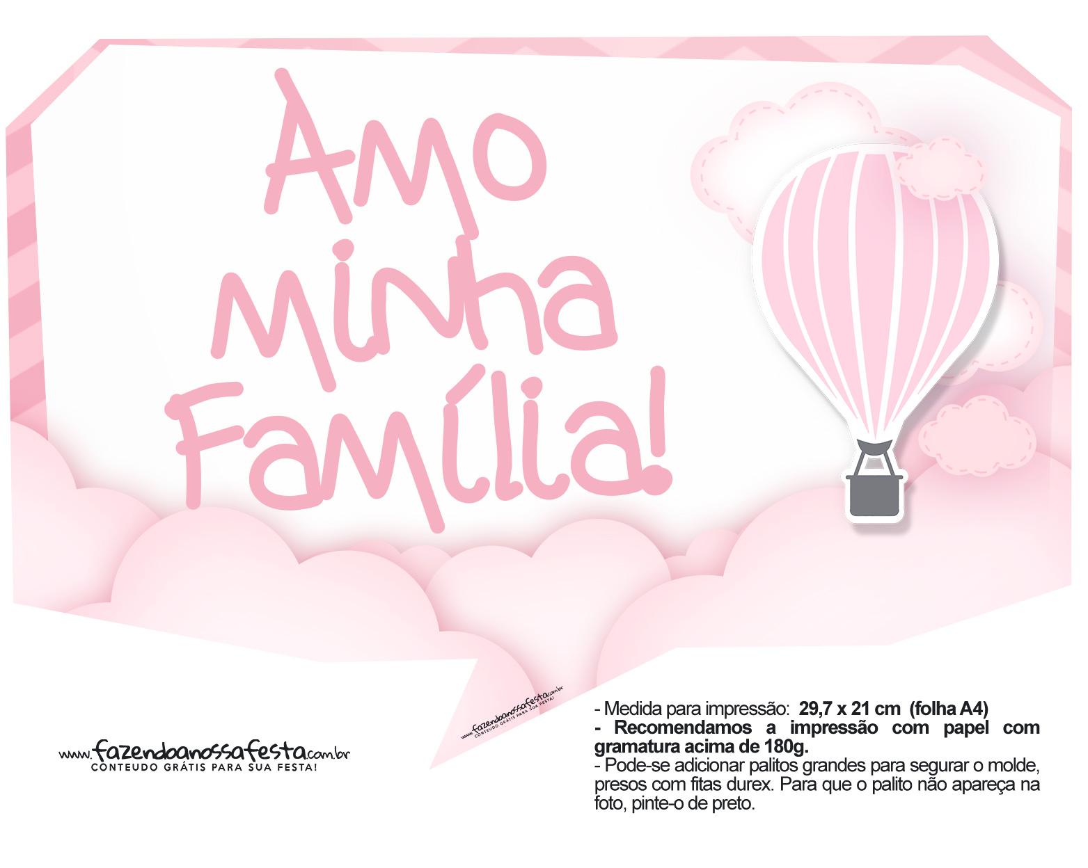 Plaquinha divertida Balão de Ar Quente Rosa 22