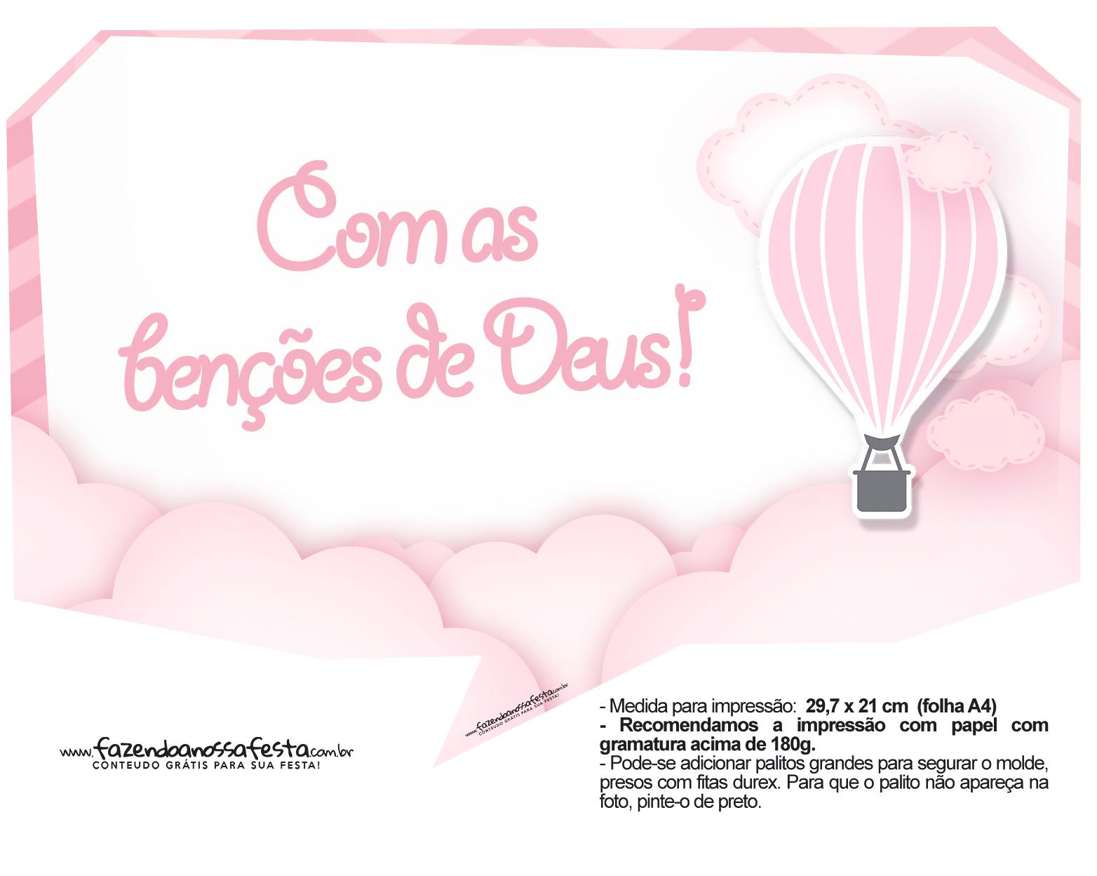 Plaquinha divertida Balão de Ar Quente Rosa 25
