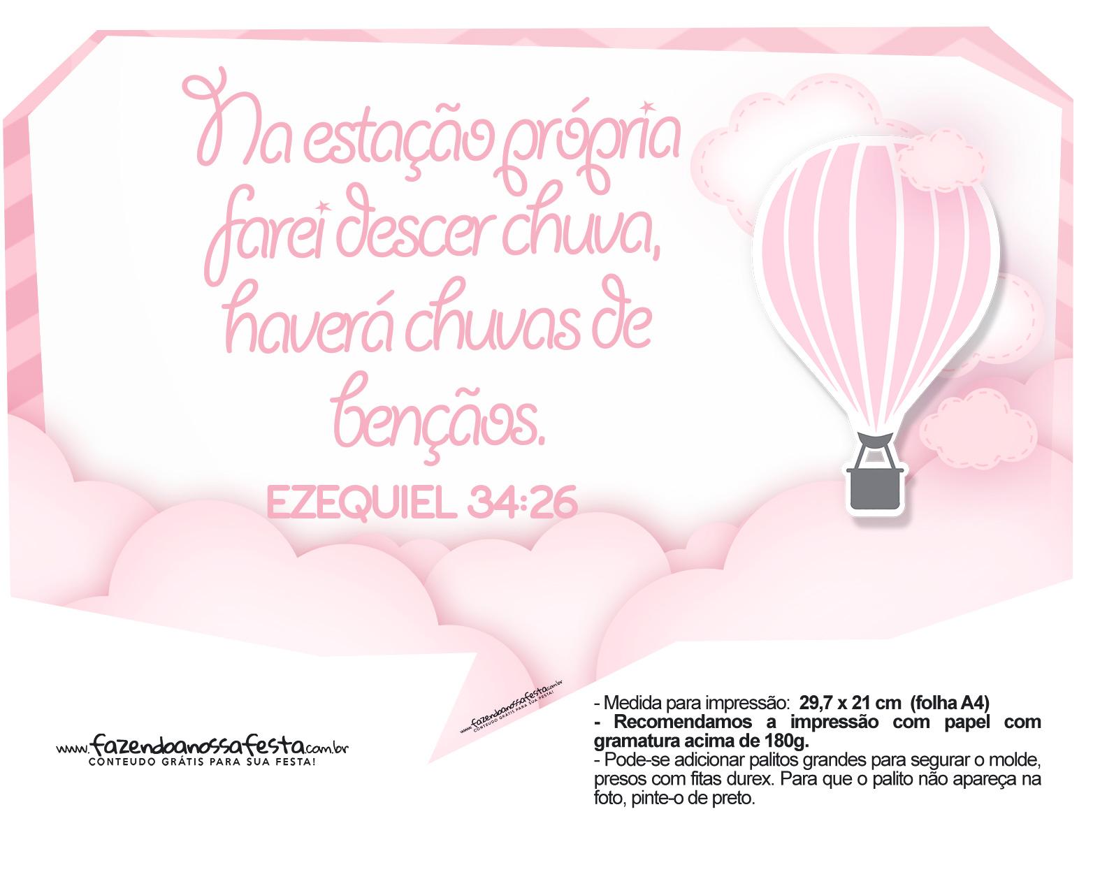 Plaquinha divertida Balão de Ar Quente Rosa 26