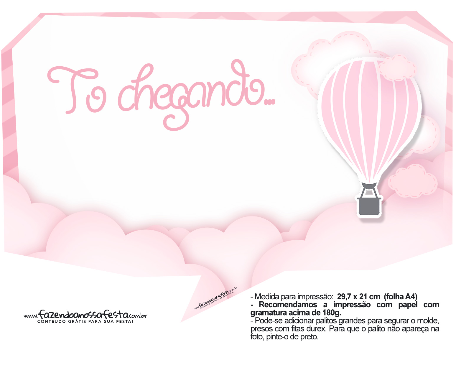 Plaquinha divertida Balão de Ar Quente Rosa 27