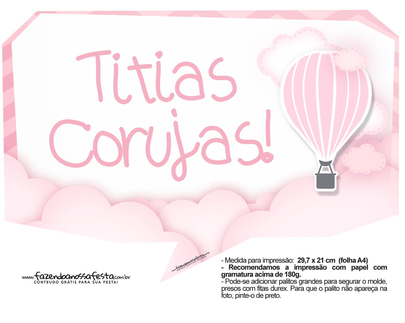 Plaquinha divertida Balão de Ar Quente Rosa 28