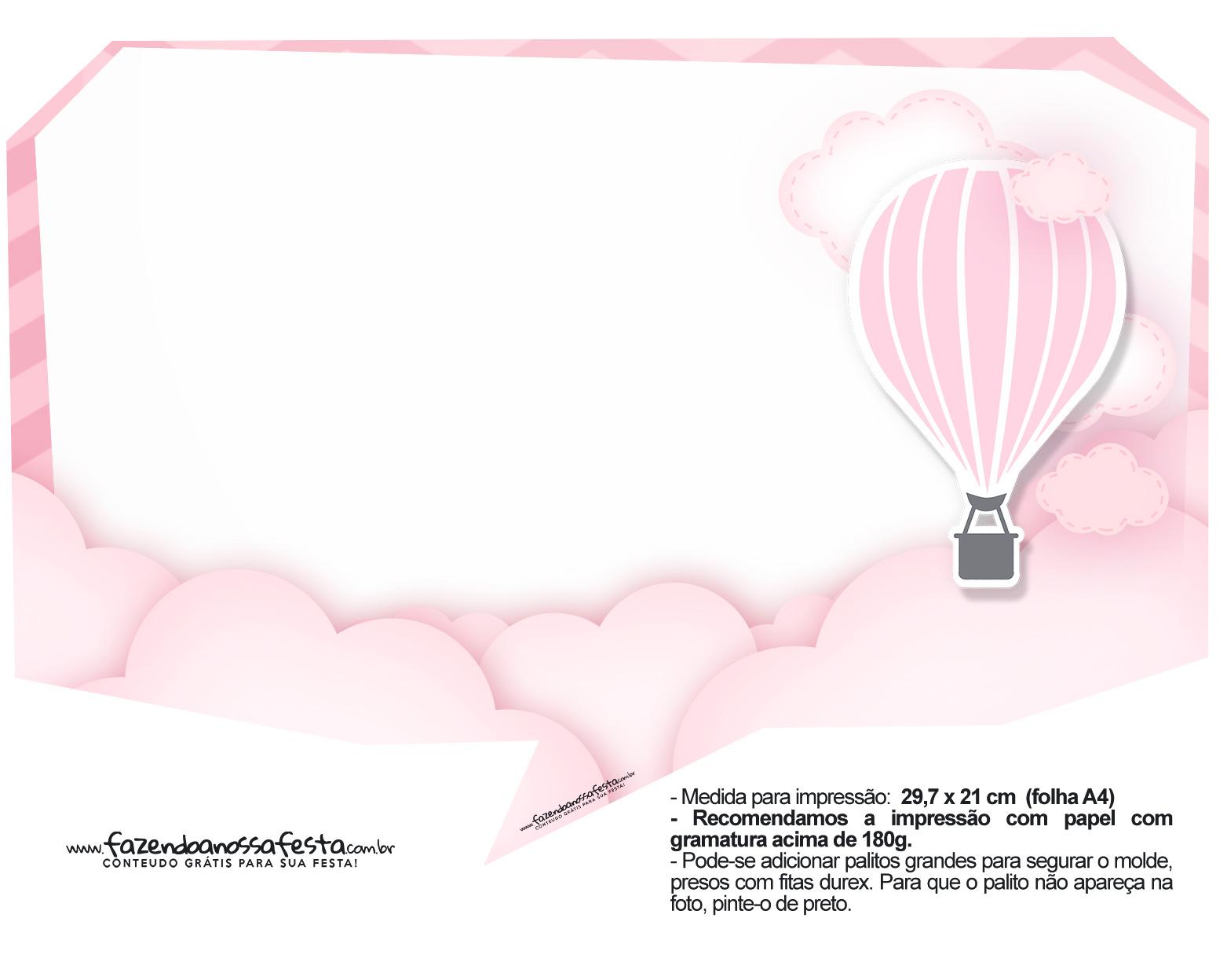 Plaquinha divertida Balão de Ar Quente Rosa 33