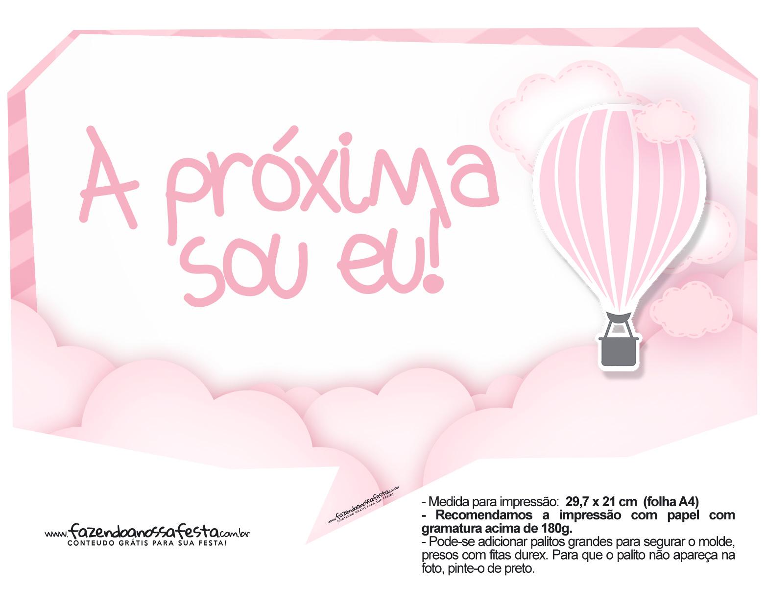 Plaquinha divertidas Balão de Ar Quente Rosa 01