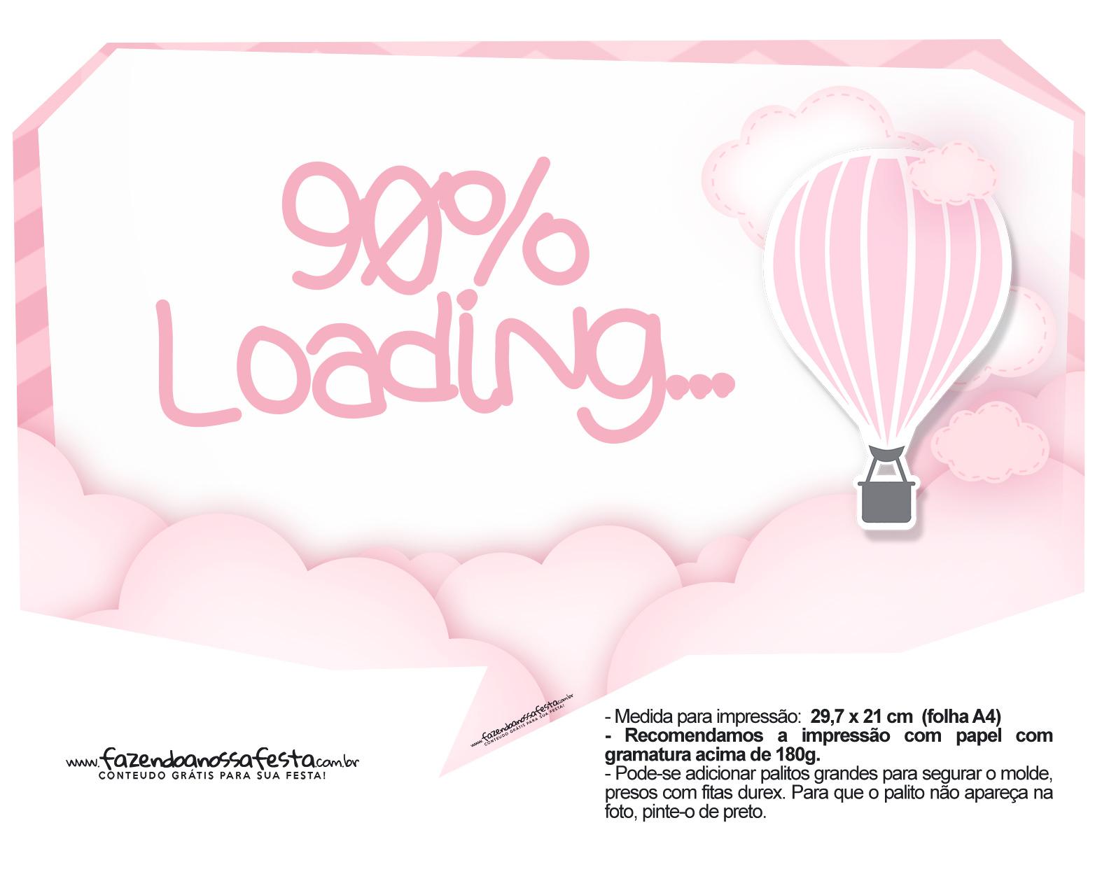 Plaquinha divertidas Balão de Ar Quente Rosa 02