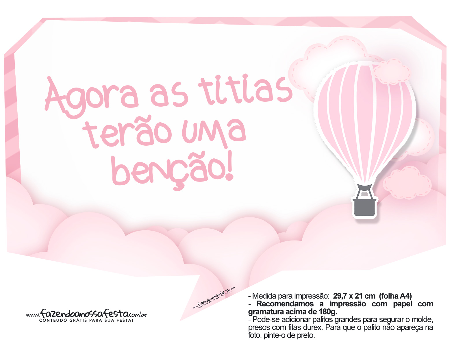 Plaquinha divertidas Balão de Ar Quente Rosa 04