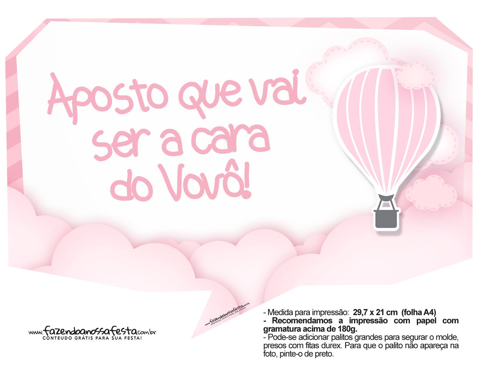 Plaquinha divertidas Balão de Ar Quente Rosa 05