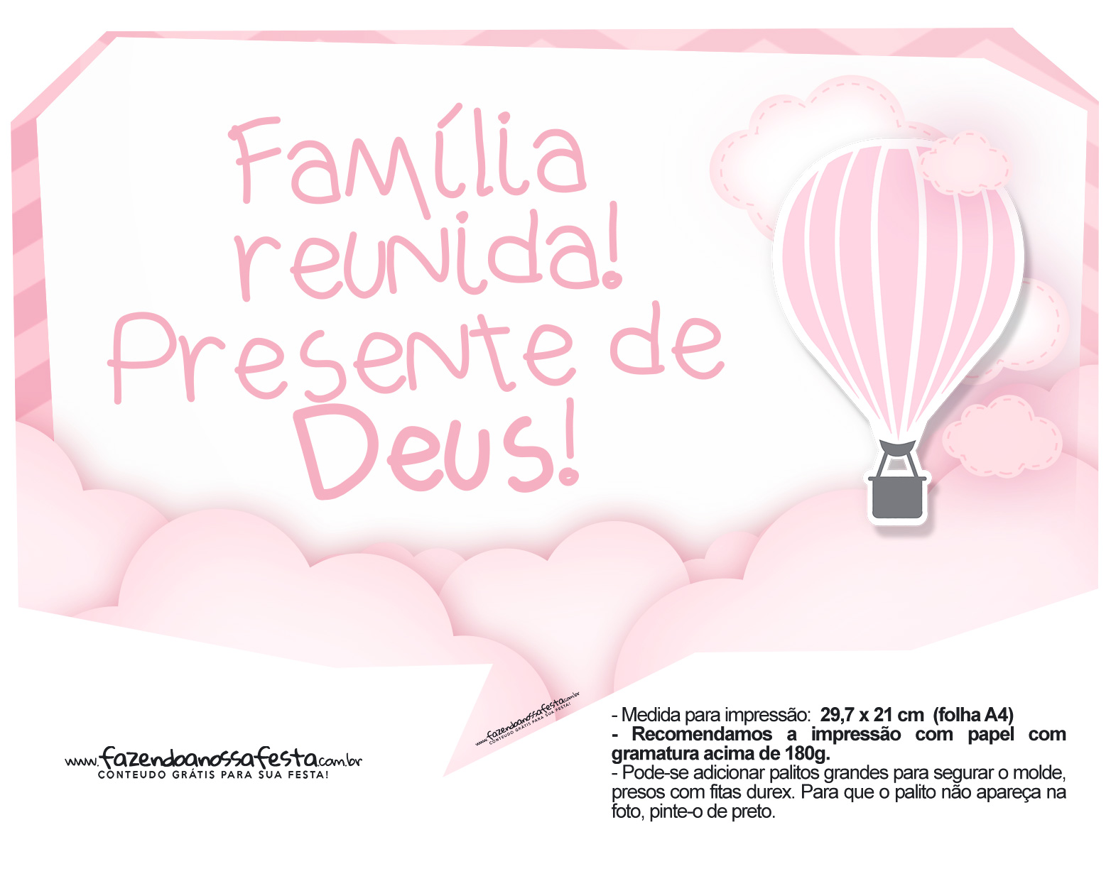 Plaquinha divertidas Balão de Ar Quente Rosa 07