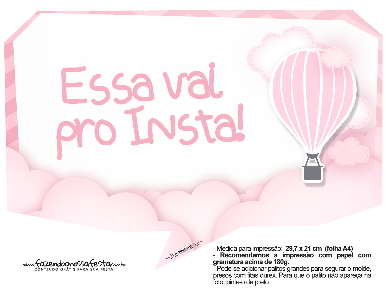 Plaquinhas Balão de Ar Quente Rosa 11
