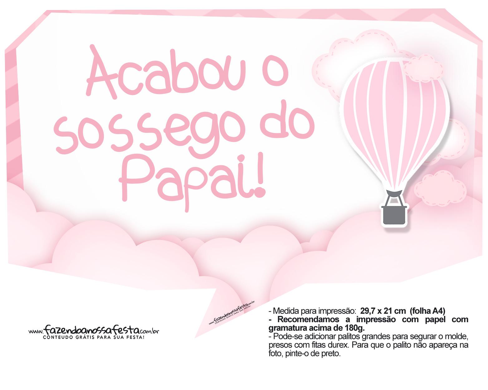 Plaquinhas Balão de Ar Quente Rosa 12