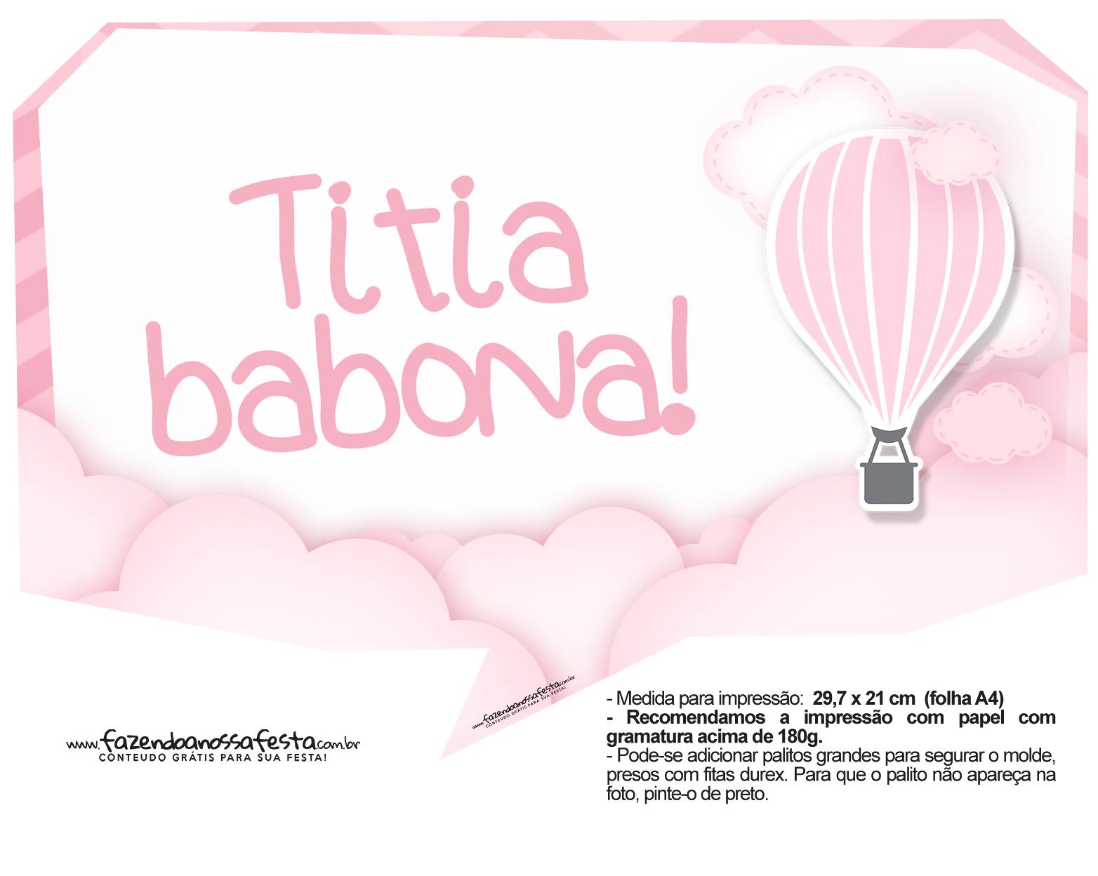 Plaquinhas Balão de Ar Quente Rosa 13