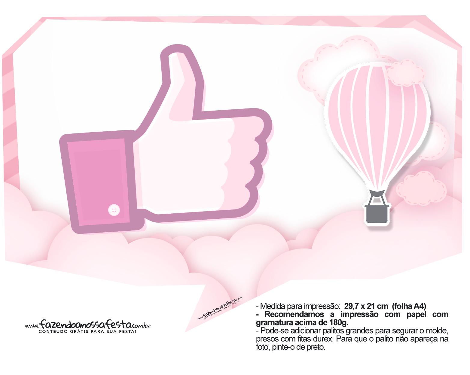 Plaquinhas Balão de Ar Quente Rosa 18