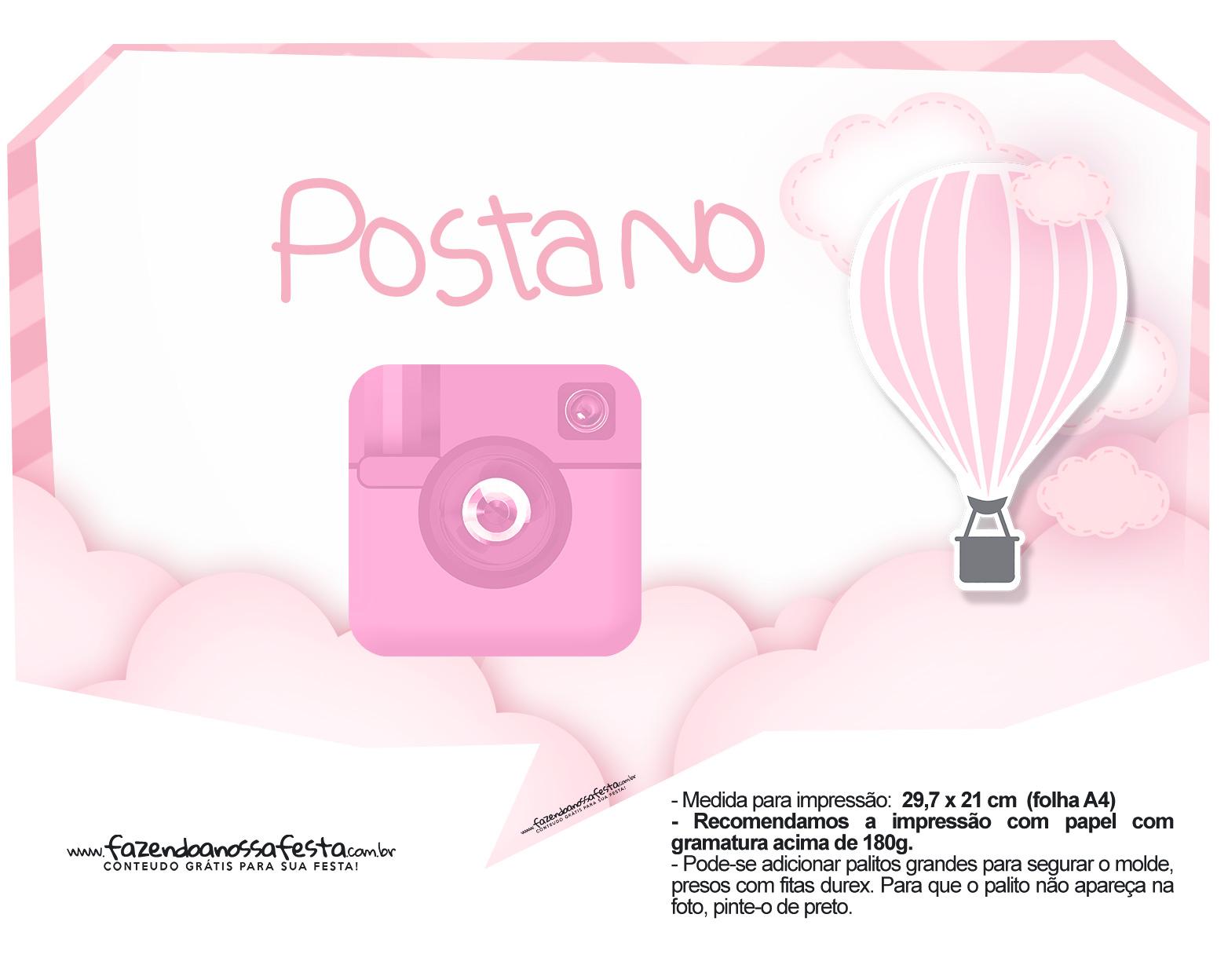 Plaquinhas Balão de Ar Quente Rosa 19