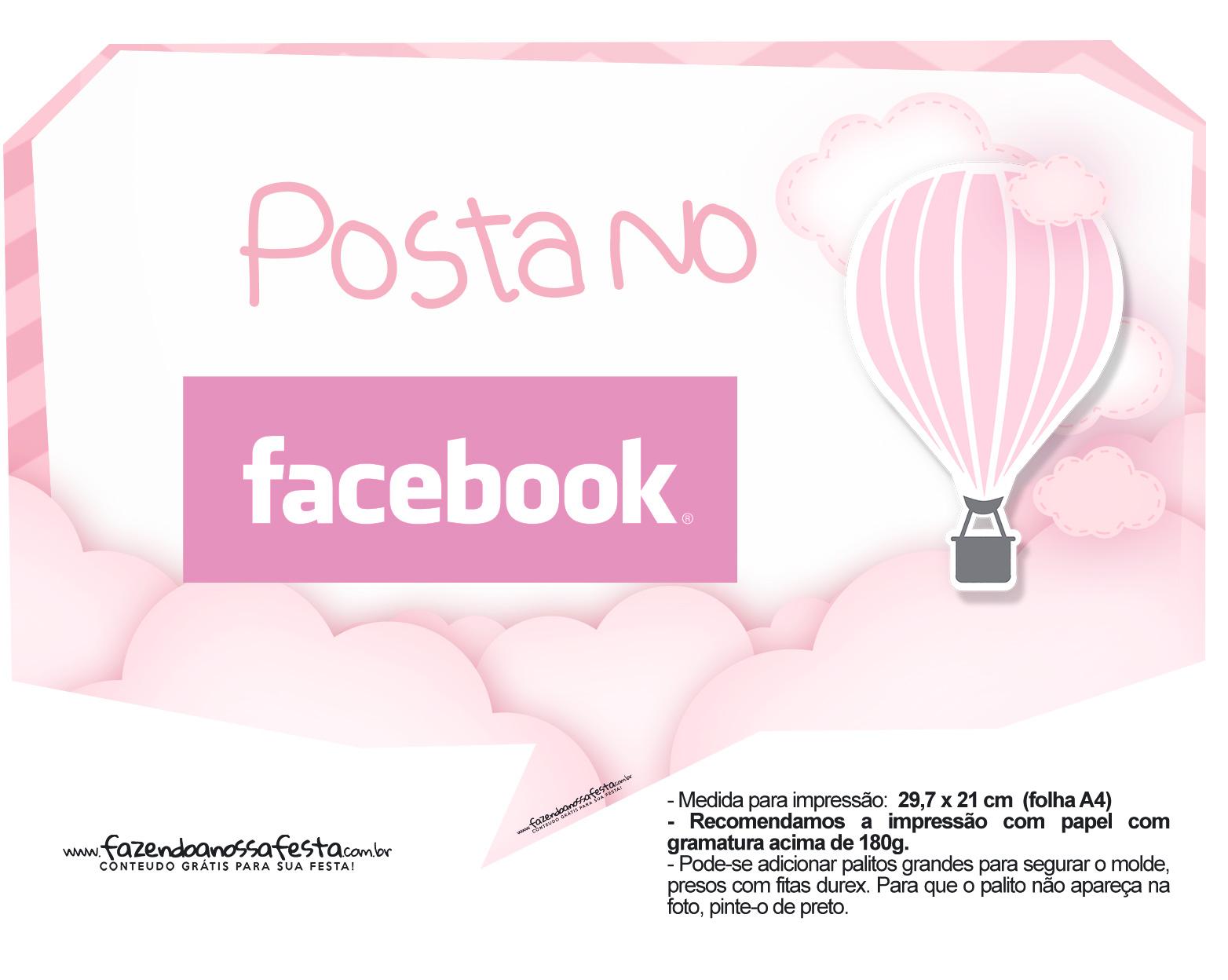 Plaquinhas Balão de Ar Quente Rosa 20