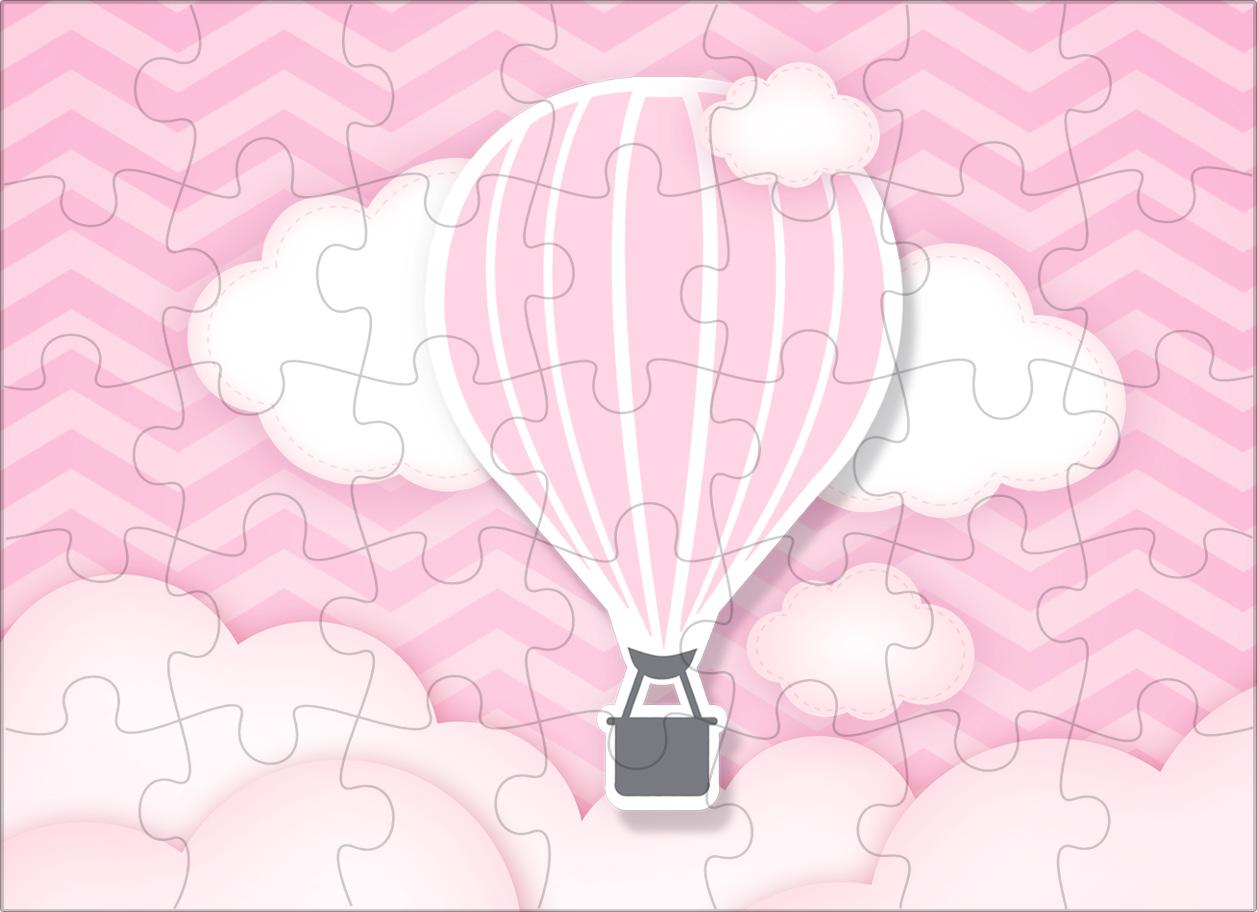 Quebra cabeça Balão de Ar Quente Rosa