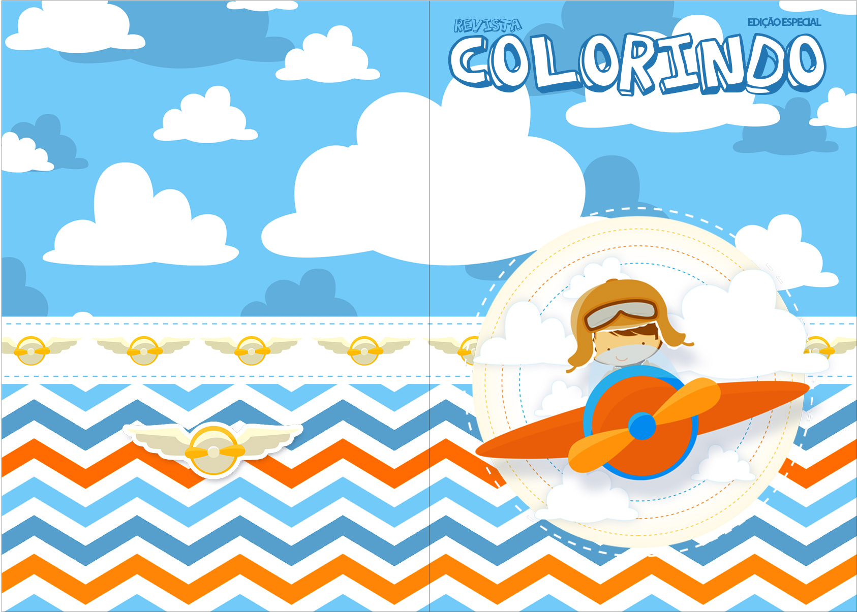Revista Colorindo Menino Aviador Kit Festa