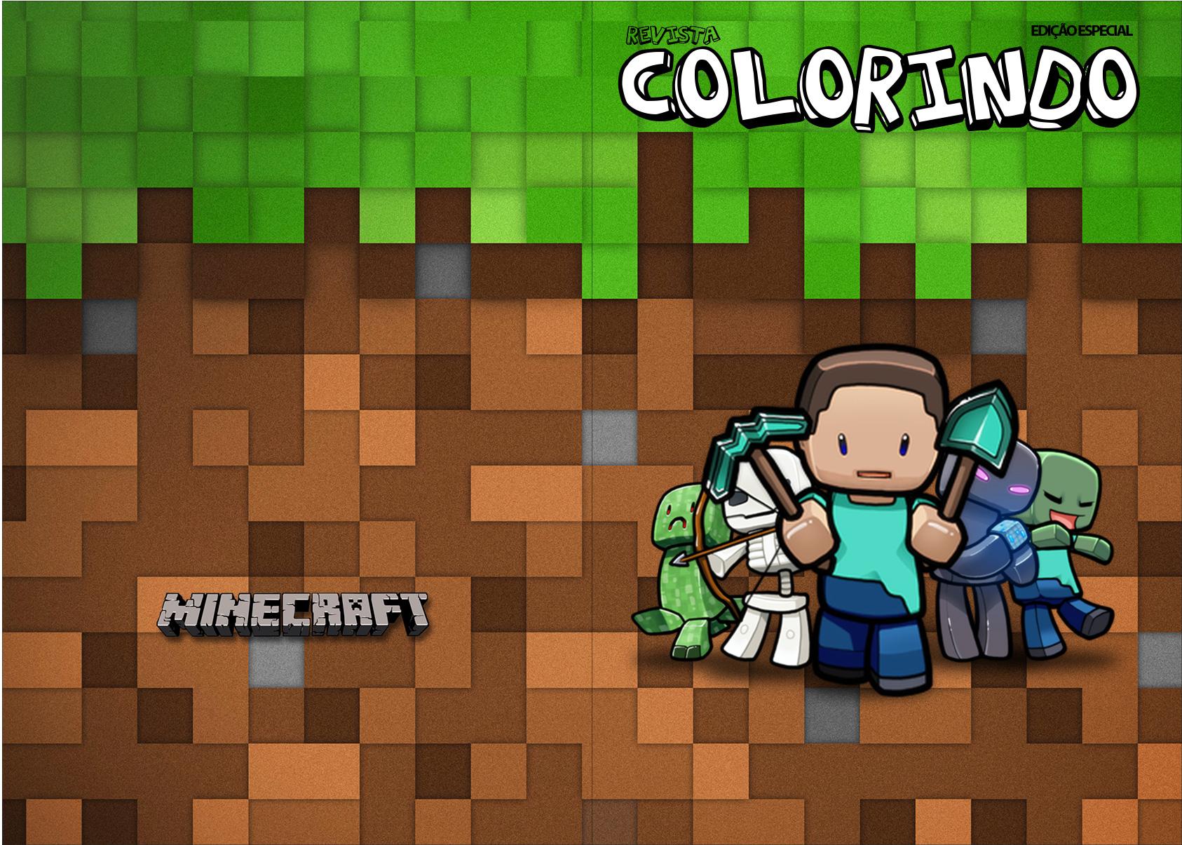 Letras Minegraft Fazendo A Nossa Festa: Revista Colorindo Minecraft