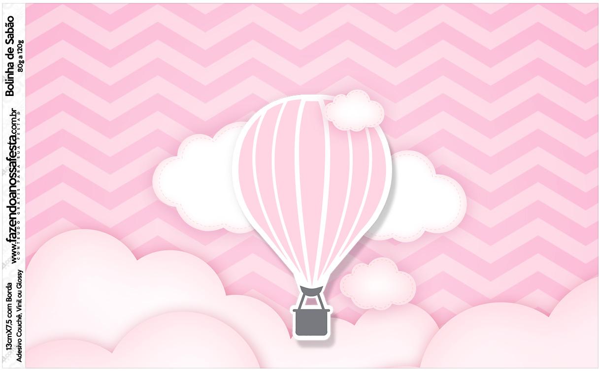 Rotulo Bolinha de Sabão Balão de Ar Quente Rosa Kit Festa