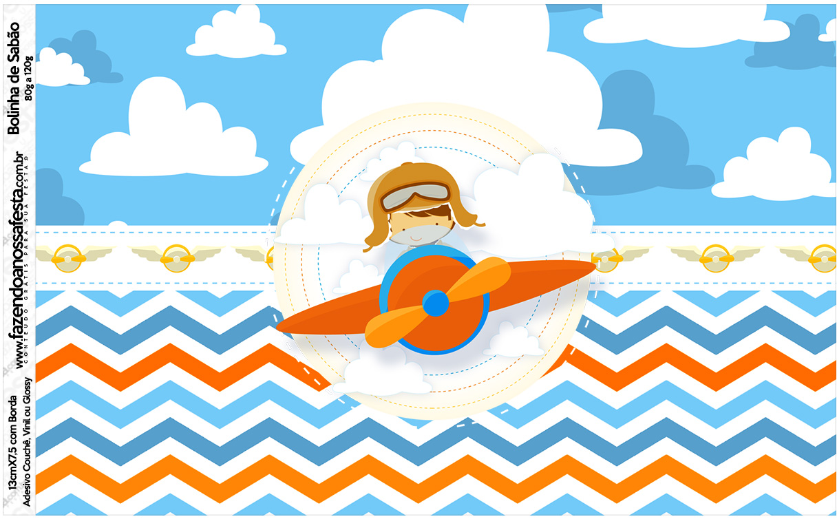 Rotulo Bolinha de Sabao Menino Aviador