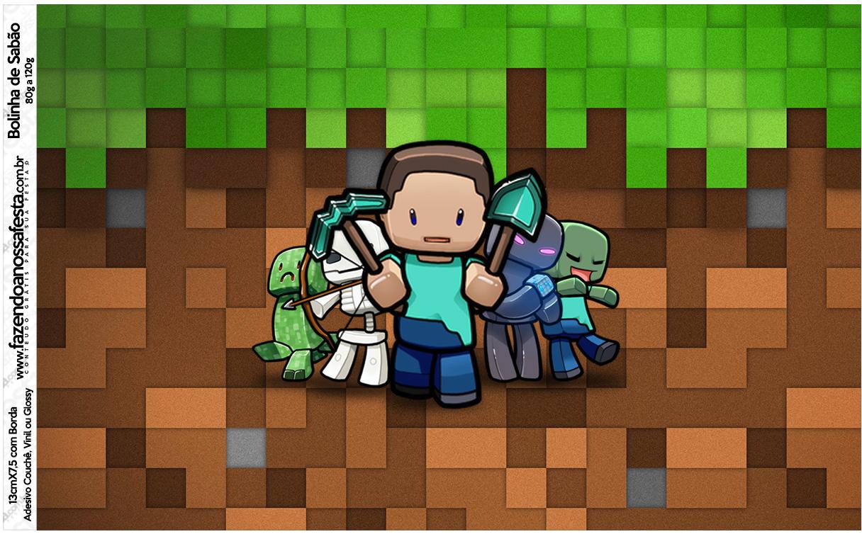 Letras Minegraft Fazendo A Nossa Festa: Rotulo Bolinha De Sabao Minecraft