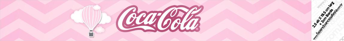 Rotulo Coca cola Balão de Ar Quente Rosa